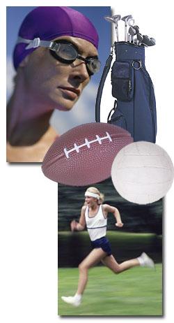 Swimming, Golf, Football, Volleyball, Running