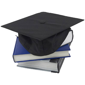 Graduation Cap Sitting on Stack of Books