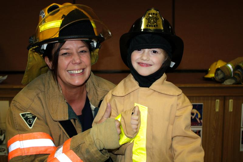 firefighter and student