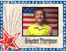 Student of the Month Brayden Thompson