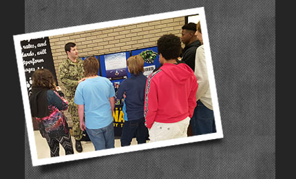 Students listening to military presentation