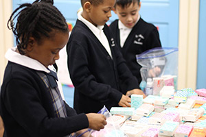 students making gift bags