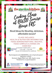 February Cooking Class Flyer