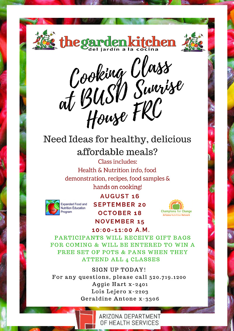 Cooking Class at BUSD Sunrise House FRC