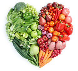 vegetables in heart shape