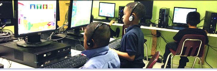 Stallworth Charter School students on computers