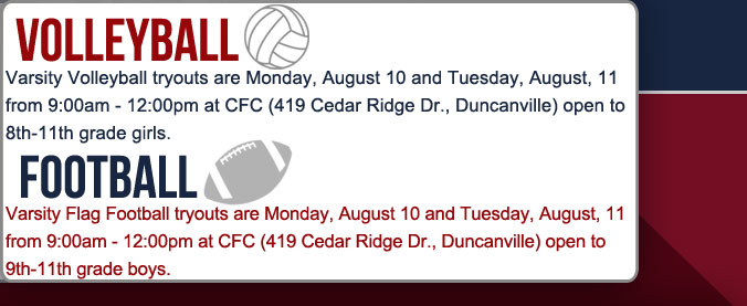 Football and Volleyball tryouts