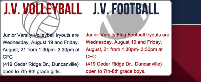 JV Football and Volleyball tryouts
