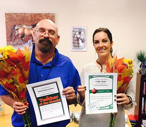 Teacher of the Month: Bob Badertscher     Employee of the Month: Callie Slade