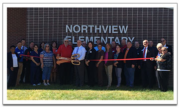 Cafeteria ribbon cutting