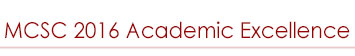 MCSC 2016 Academic Excellence