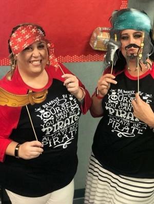 Kindergarten teachers dressed as pirates