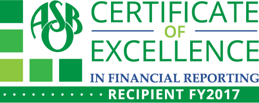 Certiicate of Excellence in Financial Reporting - Recipient FY2017