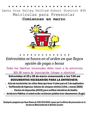 Preschool Registration (Spanish) Flyer