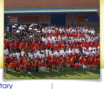 students in a flag formation