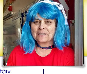teacher with blue hair