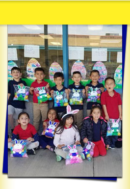 Students with easter baskets