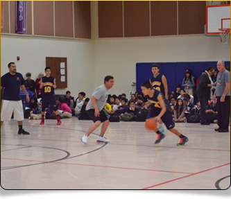 Basketball team playing