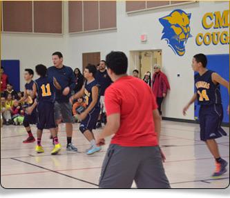 Basketball team playing