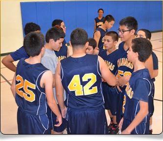 Basketball team at huddle