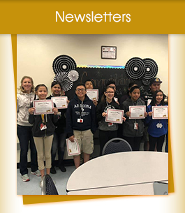 Newsletters title with group of students