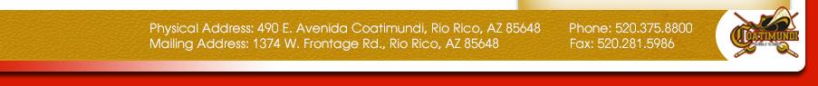 490 E. Avenida Coatimundi, Rio Rico, AZ 85648  Phone: 520-375-8800  Fax: 520-281-5986