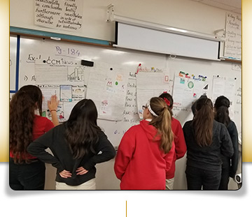 students at white board