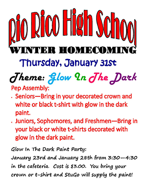 Winter Homecoming flyer