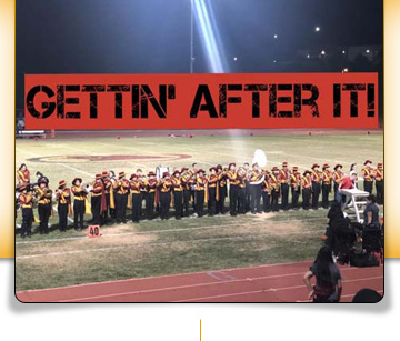 Gettin' After It! sign with Marching Band