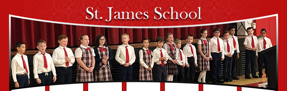 St. James School students standing in a line