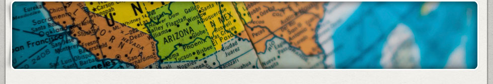 Close-up of United States and Arizona Map