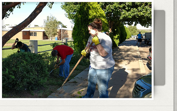 cleaning up the school grounds
