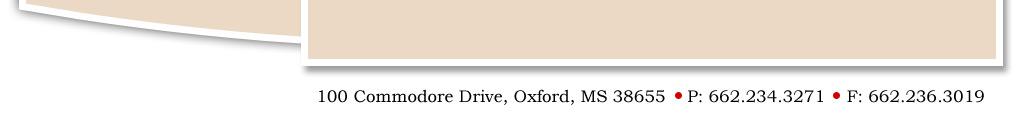 160 Commodore Drive, Oxford, MS 38655    P: 662.234.3614
