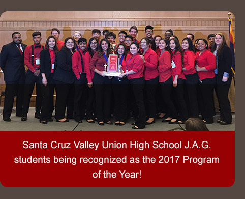 Santa Cruz Valley Union High School J.A.G. students being recognized as the 2017 Program of the Year!