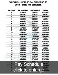 2017-2018 Pay Schedule