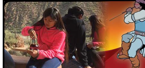 Students outside eating