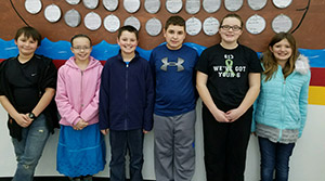 Jason Revelle, Bethany Bridgeman, Caleb Brakefield, K.J. Tiefenauer, Morgan Merlenbach, Hana Dockery, and not pictured Nikolas Presley and Noah Eads