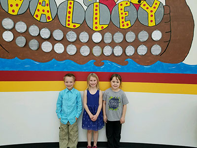 1st Grade-Parker Myers, Isabella Palmer, and Chelby Bequette.