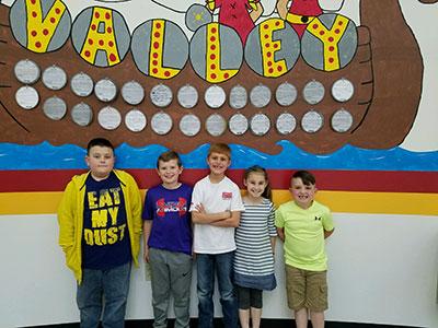 2nd Grade-Hayden Caruso, Noah Abney, Ashton Pogue, McKaylynn Medley, and Hunter Moore.