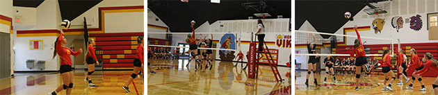 Volleyball players at home game