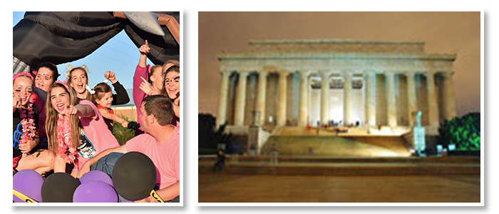Western Reserve MS & HS students on a float and visiting Lincoln Memorial