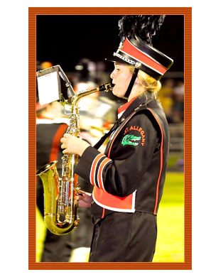 Marching Band Student Playing Instrument