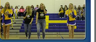cheerleaders in gym leading pep rally