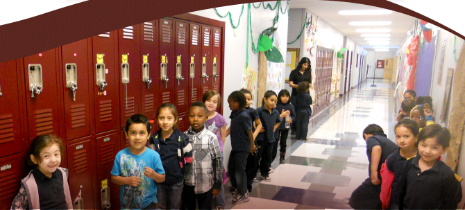 Students lined up in school hallway