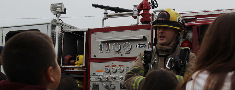 Firefighter speaks to students