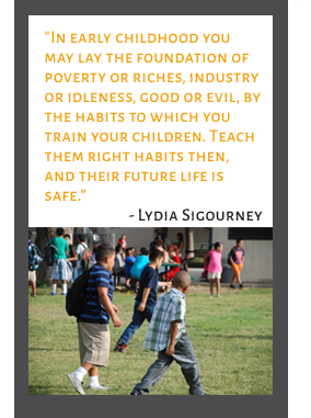 Quote by Lydia Sigourney, students walking