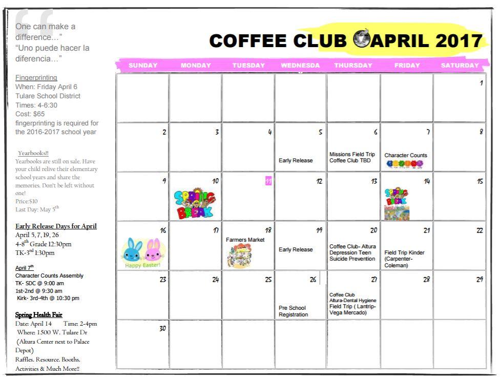 Coffee Club Calendar of Events