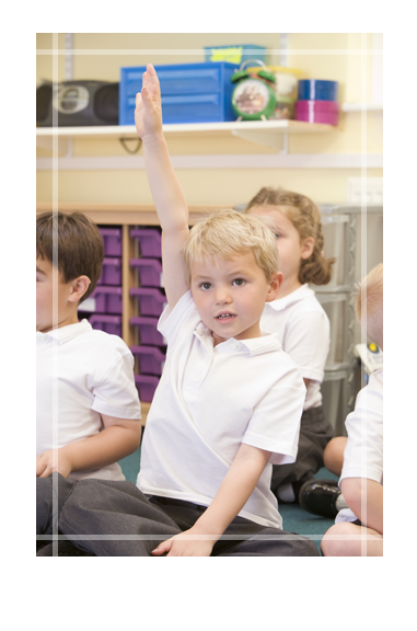 Child with Hand Raised to Ask Question