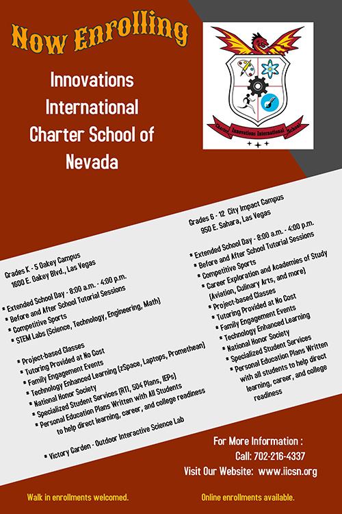 Now Enrolling - Innovations International Charter School of Nevada